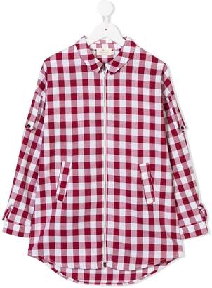 Andorine long plaid shirt