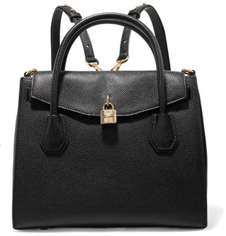 MICHAEL Michael Kors - Mercer Convertible Textured-leather Backpack - Black $358 thestylecure.com