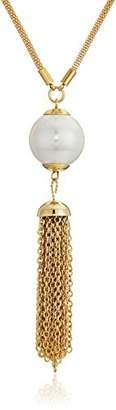 ELYA Jewelry Womens Faux Pearl IP Stainless Steel Tassel Y Shaped Pendant Necklace