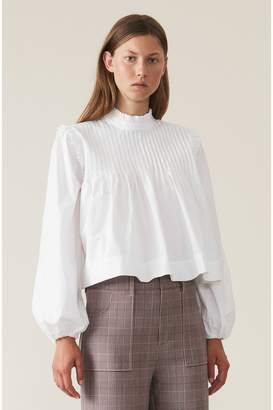 Ganni Plain Cotton Poplin Blouse