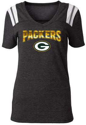 5th & Ocean Women Green Bay Packers Shoulder Stripe Foil T-Shirt