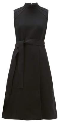 Burberry High Neck Belted Wool Blend Dress - Womens - Black