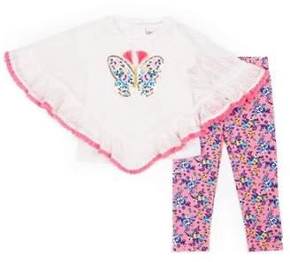 Little Lass Poncho, Short Sleeve T-shirt & Printed Leggings 3pc Outfit Set (Baby Girls & Toddler Girls)