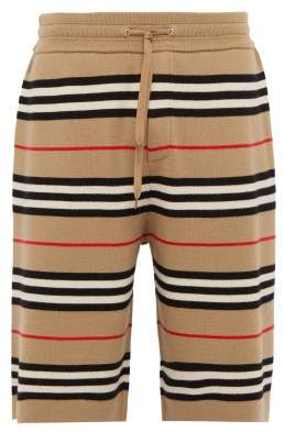 Burberry Icon Stripe Merino Wool Knit Basketball Shorts - Mens - Camel