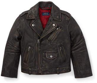 Ralph Lauren Childrenswear Leather Biker Jacket, Size 2-4