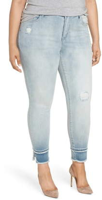 Seven7 Double Raw Hem High Waist Skinny Jeans