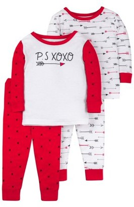 Little Star Organic Valentine's Long Sleeve Tight Fit Organic Cotton Pajamas, 4pc Set (Baby Boys & Toddler Boys)