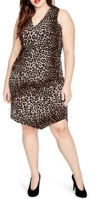Rachel Roy RACHEL RACHEL BY Leopard Print Asymmetrical Drape Dress
