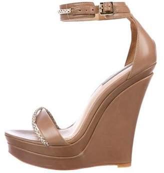Rachel Zoe Snakeskin-Trimmed Wedge Sandals