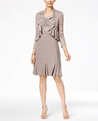 R & M Richards Metallic A-Line Dress and Ruffled Jacket