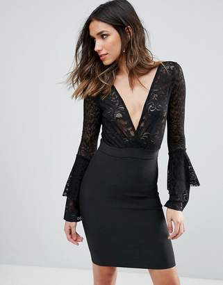 Wow Couture Plunge Wrap Front Lace Top Bandage Bodycon Dress