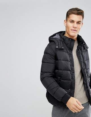 Benetton Padded Jacket With Removable Hood In Black