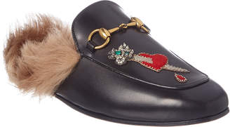 Gucci Princetown Lion & Heart Applique Leather Slipper