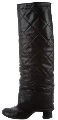 chanel quilted boots military preowned at therealreal chanel quilted leather boots black womens shopstyle