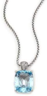 John Hardy Classic Chain Diamond, Blue Topaz& Sterling Silver Pendant Necklace