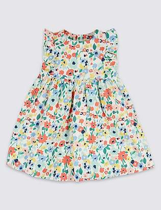 Marks and Spencer Pure Cotton Floral Print Frill Dress