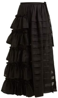 Isa Arfen Tiered Ruffle Ramie Skirt - Womens - Black
