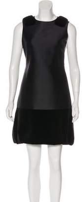 J. Mendel Mink-Trimmed Mini Dress Black Mink-Trimmed Mini Dress