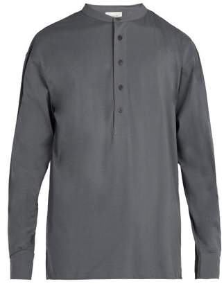 Lemaire Henley Long Sleeved Cotton T Shirt - Mens - Grey