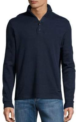HUGO BOSS Piceno Zip Placket Cotton Top