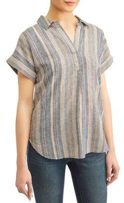 94ec2418a98 Alexander Jordan Women's Striped Short Sleeve Popover