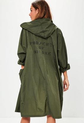 Khaki Oversized Pocket Detail Festival Rain Mac $45 thestylecure.com