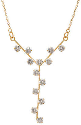 Tag Heuer FINE JEWELLERY 14k Yellow Pave Y-Drop Necklace