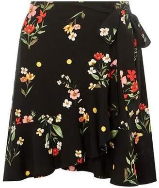 Dorothy Perkins Womens Black Floral Tie Mini Skirt