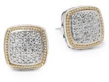 Effy Diamond in 18K Gold & Sterling Silver Square Earrings