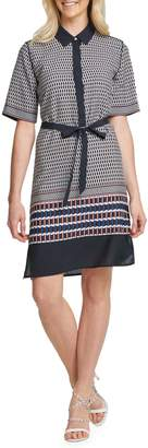 DKNY Printed Tie-Front Button-Front Dress