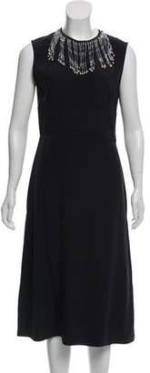 Prada Silk Midi Embellished Dress w/ Tags