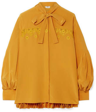 Fendi Pussy-bow Embroidered Pleated Silk Crepe De Chine Blouse - Saffron