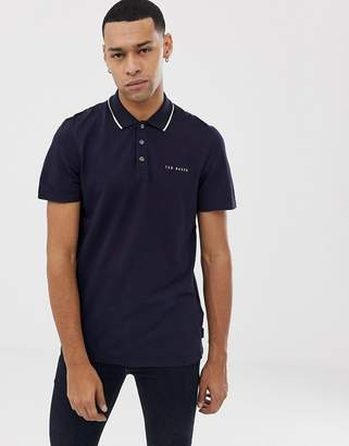 e12d29e9fb2028 Ted Baker polo shirt with tipped collar in navy