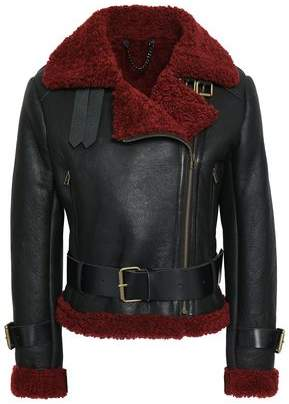 Muu Baa Muubaa Shearling-trimmed Leather Biker Jacket