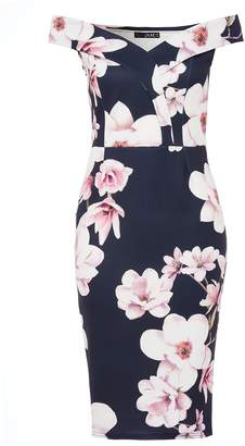 Quiz Navy And Pink Floral Print Sweetheart Neckli