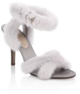 Valentino Mink Fur Crisscross Sandals