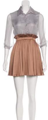 Anna Sui Silk Shirt Dress Grey Silk Shirt Dress