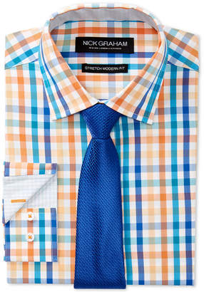 Nick Graham Men Slim-Fit Stretch Easy-Care Multi Check Dress Shirt & Textured Solid Tie Set