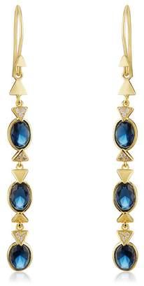 Melinda Maria Nadia Bezel Set Long Blue Topaz & Pave CZ Drop Earrings