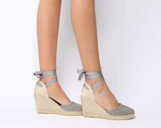 4eeeed361a5b Gaimo For Office Ankle Wrap Espadrille Wedges Grey