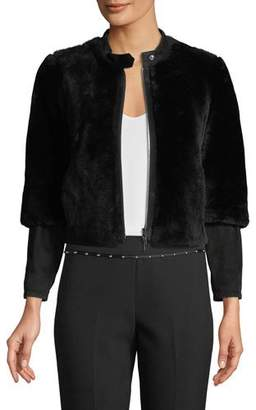 Emporio Armani Cropped Shearling Fur Zip-Front Jacket w/ Suede Sleeve Detail