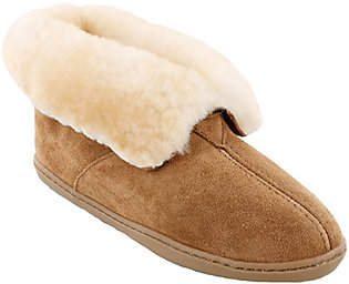 Minnetonka Leather Ankle Boot Slippers - Sheeps kin Ankle Boot