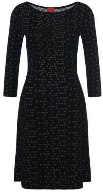 Hugo Boss Serita Viscose Patterned Knit Dress S Patterned $325 thestylecure.com