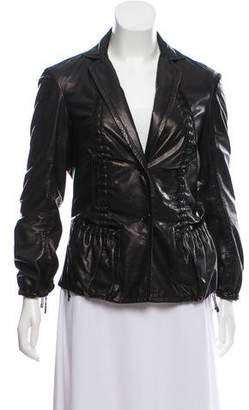 Donna Karan Braided Leather Jacket