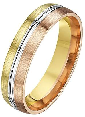 Theia His & Hers 14ct Yellow White and Rose Gold Three-Tone 5mm Grooved Wedding Ring - Size V