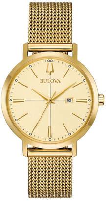 Bulova 34mm Aerojet Date Watch w/ Mesh Strap, Gold