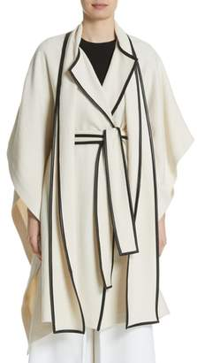 Rosetta Getty Leather Trim Cotton & Wool Blend Cape with Scarf