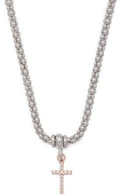 Made In Italy Sterling Silver Cz Cross Popcorn Necklace