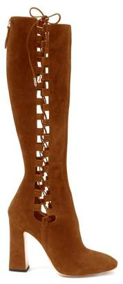 Aquazzura Medina 105 Suede Knee High Boots - Womens - Tan