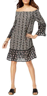 Style&Co. STYLE & CO. Petite Off The Shoulder Flare Sleeve Print Dress